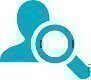 blue outline person magnifying glass