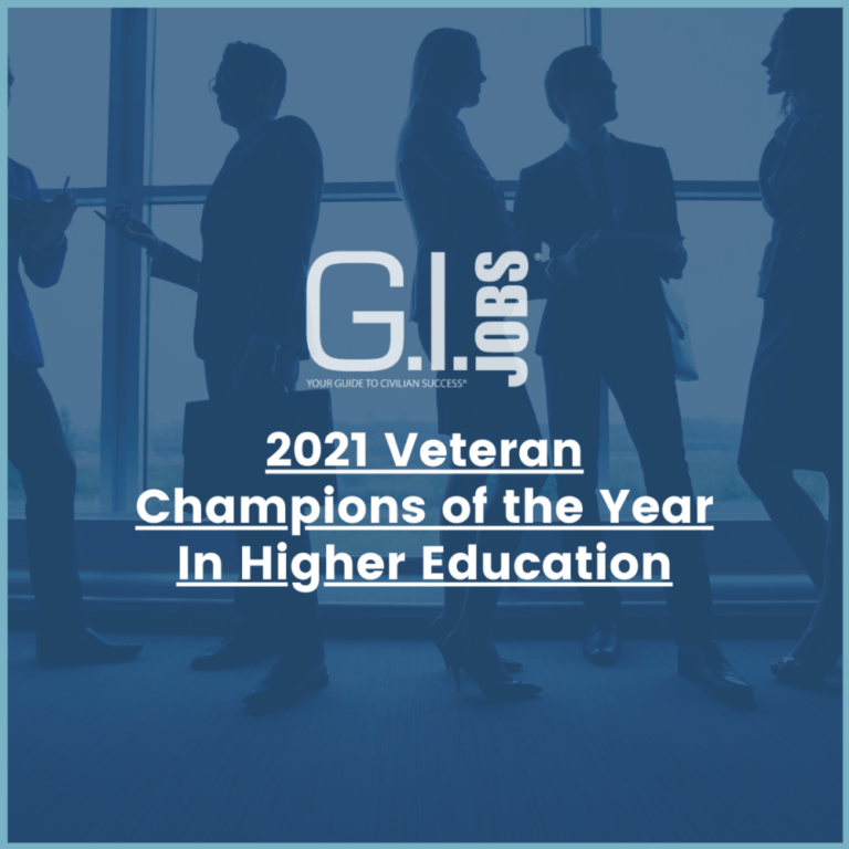 2021 Veteran Champions of the Year in Higher Education